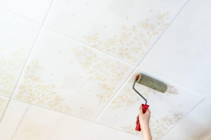 Painting Styrofoam Ceiling Tiles with Roller