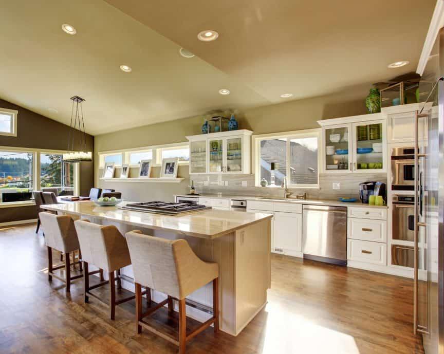 Hardwood Floor Under Cabinets
